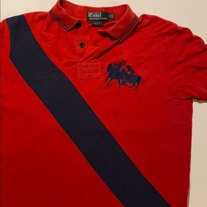 Polo by Ralph Lauren red polo with navy trim